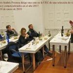 El Maestro Andrés Proensa dirige una cata en la UEC, Unión Española de Catadores, de una selección de vinos blancos elaborados en España y comercializados en el año 2017