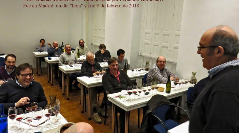 """Cata en la Unión Española de Catadores: """"Añada Mítica 2001"""", dirigida por Fernando Gurucharri. Madrid, 8 de febrero de 2018"""