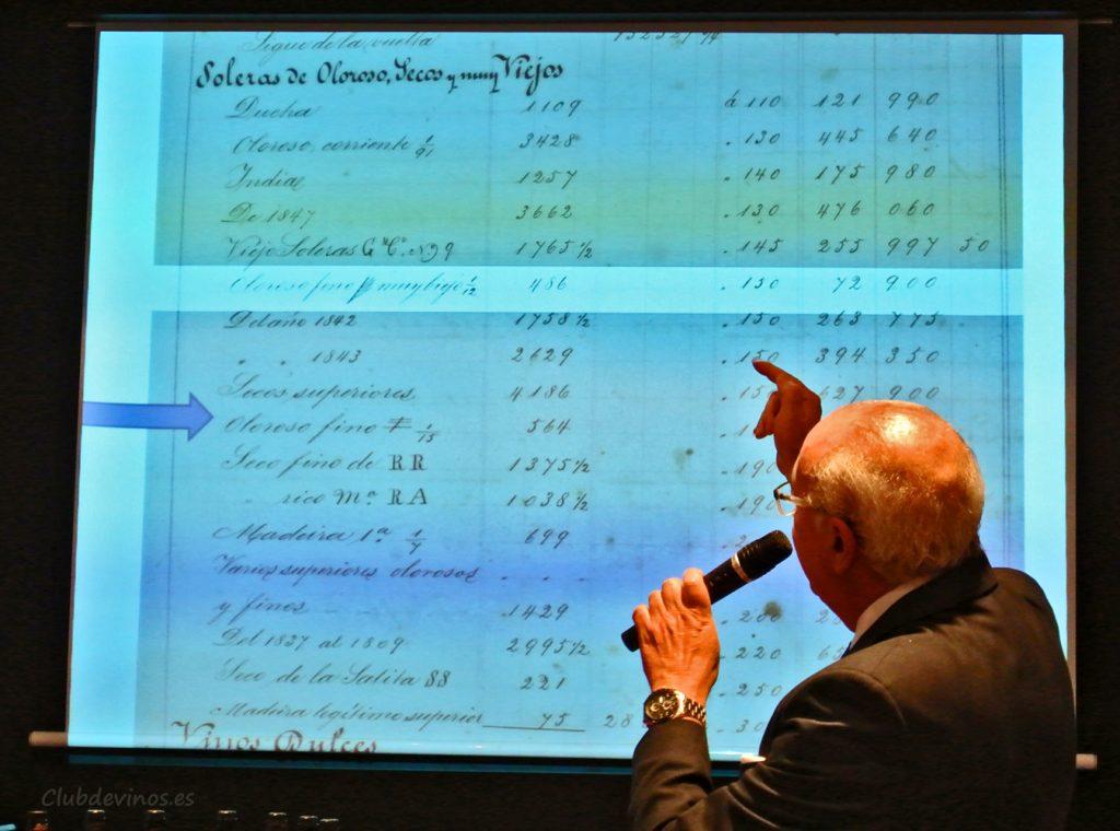 Don Antonio Flores nos muestra las primeras referencias de Palo Cortado que aparecen en el archivo histórico de Bodegas González Byass